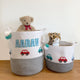 Little Cars - Grey Rope Personalised Storage Basket