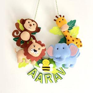 Personalised Wild Jungle Animal Wall Hanging