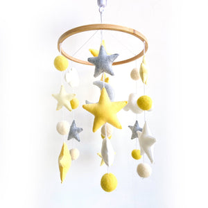 Clouds & Stars Ceiling Mobile Hanging - Yellow