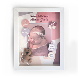 Pink & Purple Teddy Birth Statistics Frame