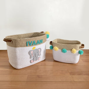 Jute & Cotton Rope Storage Basket - Elephant
