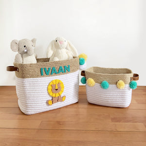 Jute & Cotton Rope Storage Basket - Lion