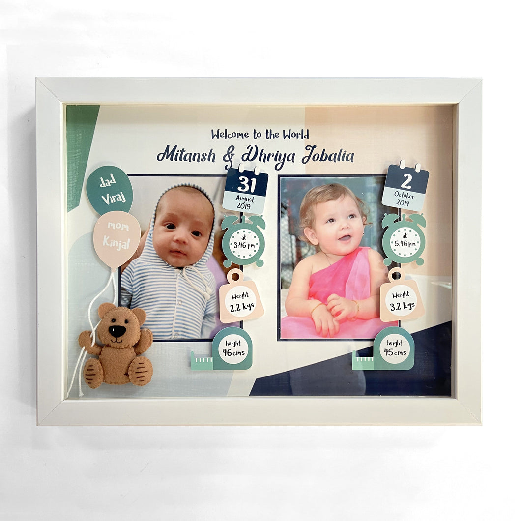 3D Birth Detail Photo Frame - Siblings/Twins
