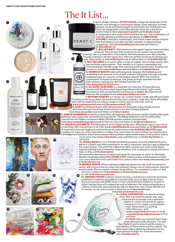 "DU NORD SKIN CARE TERROIR DU NORD Duo Collection (TAIGA Cream and TUNDRA Oil) in VANITY FAIR ""It List"""