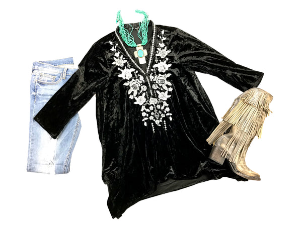 Black Velvet Tunic w/Grey Silver Floral Embroidery