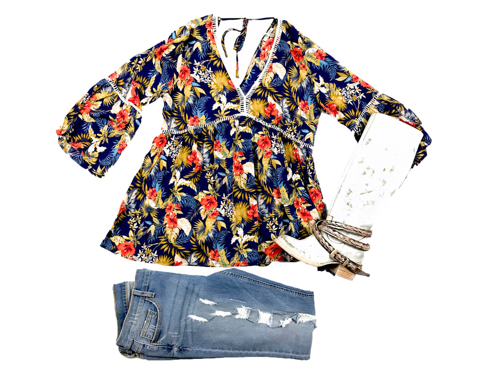 Blue Tropical Print Top