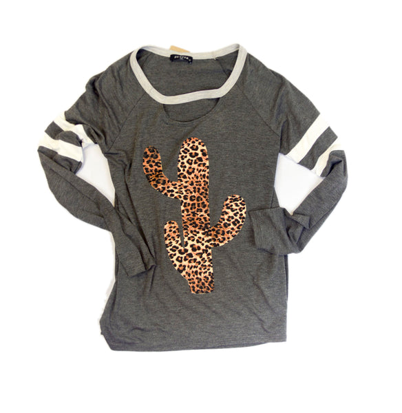 Leopard Cactus Long Sleeve Top