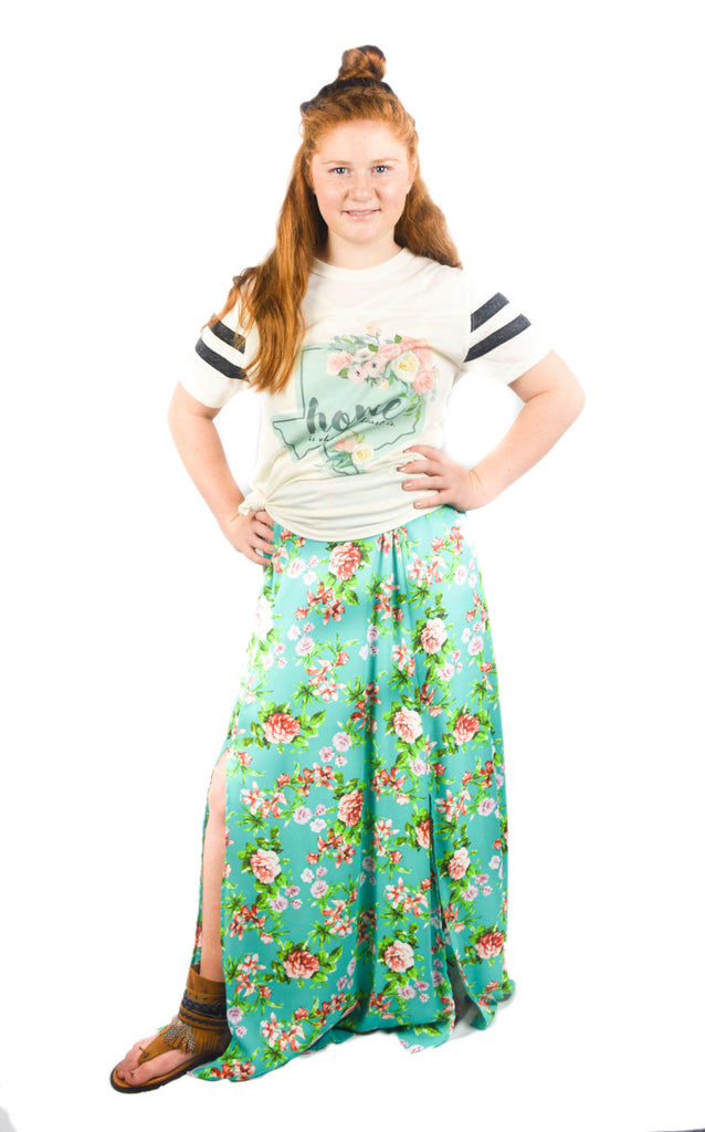 Mint Blue Maxi Skirt with Cactus Flowers