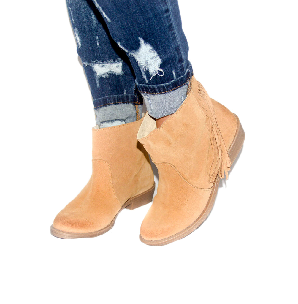Tan Fringed Boot