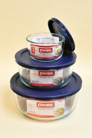 PYREX Blue Glassware Storage Set (3 PCS)