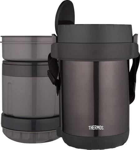 THERMOS All-in-1 Vacuum Insulated Stainless Steel Meal Carrier with Spoon (Smoke)