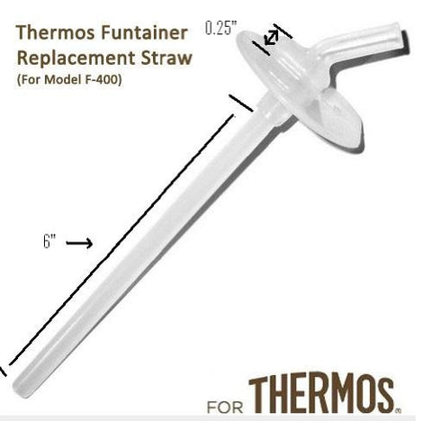Thermos FUNtainer Replacement Straw 12 Ounce For Bottle Model Number F400 (Thermos Funtainer Without The Handle On The Lid) (See Fit Guide)