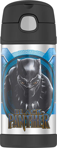 Thermos FUNtainer Stainless Steel 12oz. Straw Bottle - Black Panther