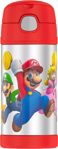 Thermos FUNtainer Stainless Steel 12oz. Straw Bottle - Super Mario Brothers