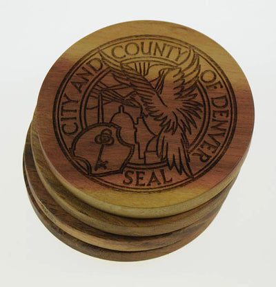 City Seal of Denver, Colorado Wood Coasters