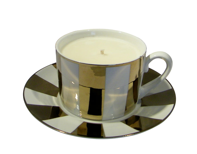Carousal Gold Cup and Saucer Candle with Hidden Gemstone
