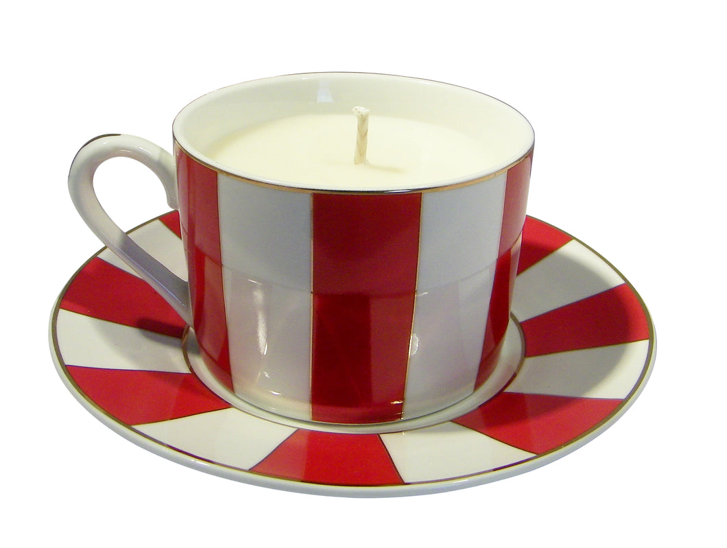 Carousal Red Cup and Saucer Candle with Hidden Gemstone