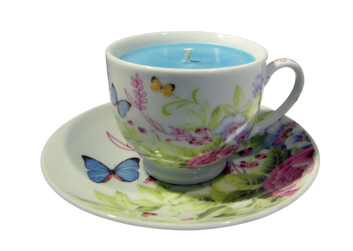 Butterfly Teacup & Saucer with Hidden Gemstone