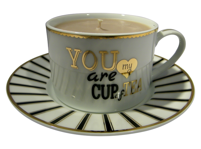 "Gold/Black Phrase Cup and Saucer, ""You Are My Cup of Tea"" Candle with hidden Gemstone"