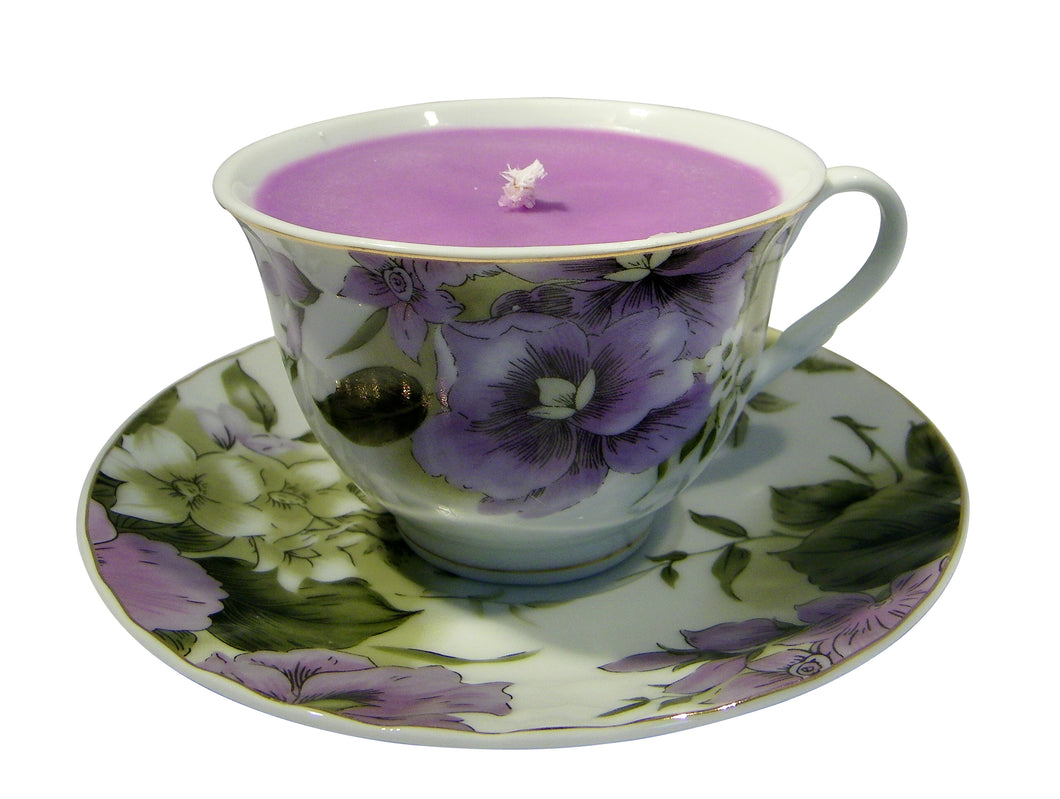 Lavender/Purple Flowered Porcelain Tea Cup & Saucer Candle with Hidden Gemstone