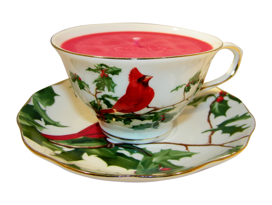 Red Cardinal Tea Cup and Saucer Candle with hidden Gemstone