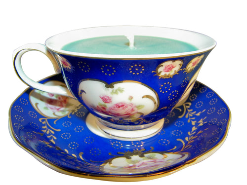 Blue Museum Rose Teacup and Saucer Candle with hidden Gemstone