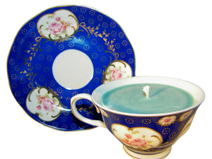 Blue Museum Rose Tea Cup and Saucer Candle with hidden Gemstone