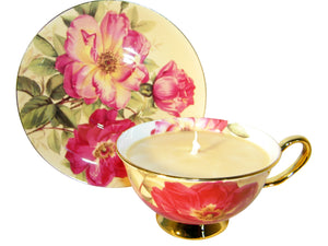 Keepsake Gold Tea Cup and Saucer Candle with hidden Gemstone
