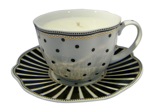 Black Josephine Tea/Coffee Cup and Saucer Candle with hidden Gemstone