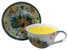 Turq Peacock Cup and Saucer Candle with hidden Gemstone