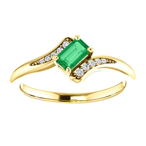 10K Yellow  Emerald Ring