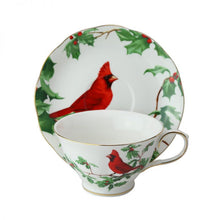 Red Cardinal Teacup and Saucer Candle with hidden Gemstone