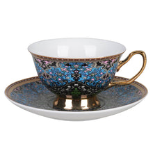 Moroccan Gold Blue Tea Cup and Saucer Candle with hidden Gemstone