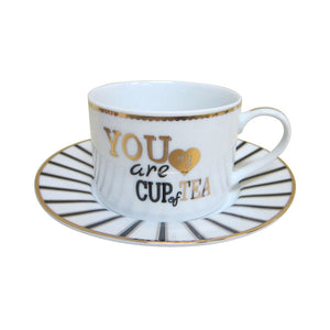 "Gold/Black Phrase Cup and Saucer Candle, ""You Are My Cup of Tea"" Candle with hidden Gemstone"