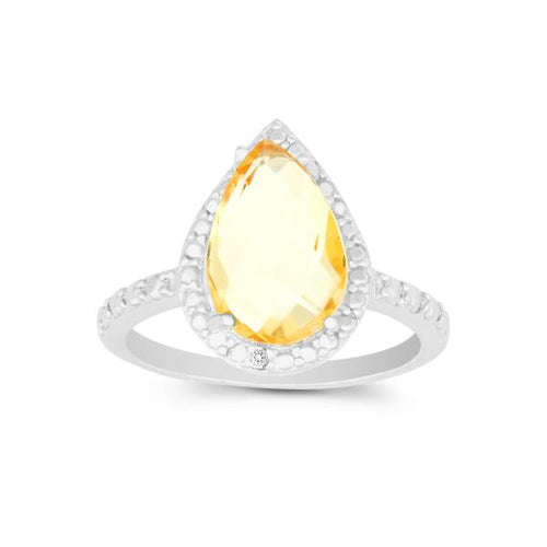 Diamond with Large Citrine Teardrop Ring