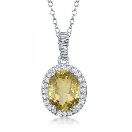 Sterling Silver Oval Citrine with White Topaz Border Necklace