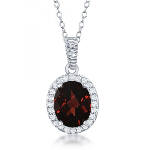Sterling Silver Oval Garnet with White Topaz Border Necklace