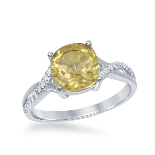 Square Citrine with White Topaz on Side Ring