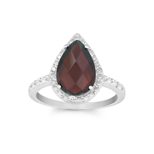 Diamond with Large Garnet Teardrop Ring