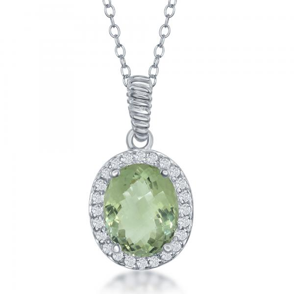 Sterling Silver Oval Green Amethyst with White Topaz Border Necklace