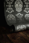 Skull Wallpaper Sample - Grey & Silver - Anatomy Boutique