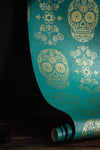 Skull Wallpaper Sample - Teal & Gold - Anatomy Boutique