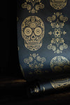 Skull Wallpaper Sample - Black & Gold-Anatomy Boutique-Anatomy Boutique