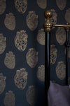 Anatomical Heart Wallpaper - Charcoal and Gold-Anatomy Boutique-Anatomy Boutique