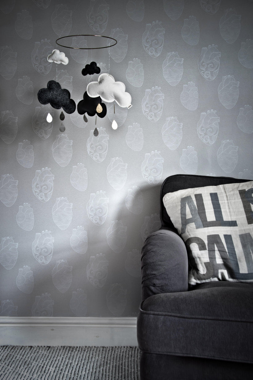 Anatomical Heart Wallpaper Concrete And White