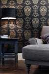 Sugar Skull Wallpaper - Black & Gold - Anatomy Boutique
