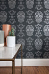 Sugar Skull Wallpaper - Grey & Silver