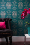 Sugar Skull Wallpaper - Teal & Gold