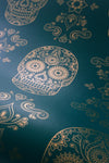 Skull Wallpaper Sample - Teal & Gold