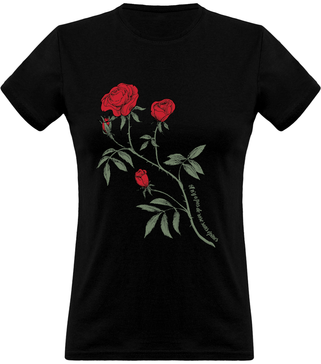 (new) T-shirt Femme 150g - Black Tshirt - Rose Design